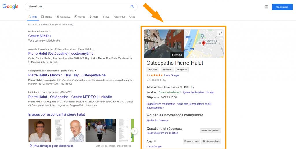 Page Google my business de Pierre Halut ostéopathe et gérant de la société Oxteo