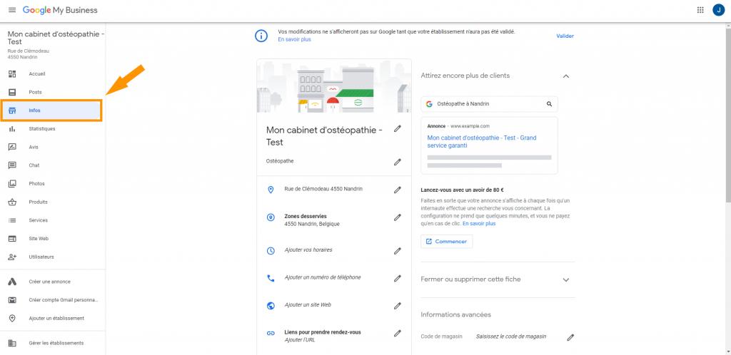 Page d'infos sur Google My Business