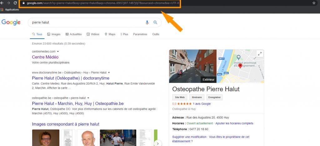 Page Google de Pierre Halut D.O. ostéopathe et fondateur de Oxteo le logiciel pour ostéopathes